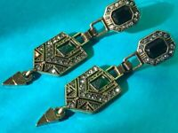 Stunning  Art Deco Style Rhinestone Geometric EMERALD GREEN CRYSTAL EARRINGS