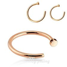 "22g, 20g, 18g~5/16"", 3/8"" Rose Gold IP Surgical Steel Nose Hoop with Flat Top"