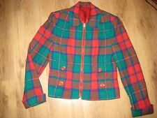 Betty Barclay 10 Vintage Jacket Plaid Buttons Green Red Tartan Wool Blend