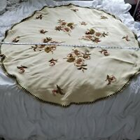 Vintage Crewel Embroidered Floral Round Wool Tablecloth