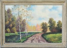 "Beautiful Mid-Century Landscape oil Painting Signed ""Watts"", Wonderful Frame!"