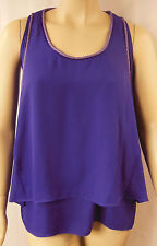 City Chic Purple Sleeveless Beaded Mesh Trim Top Plus Size XS 14 BNWOT CC268