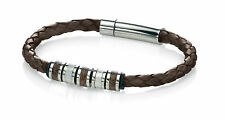 Fred Bennett Mens Brown Leather Bracelet With Stainless Steel & Leather Beads