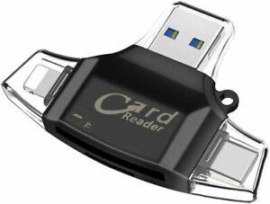 USB TF Card Reader Sonoka 4 in 1 Memory Card Reader Lightning-USB 2.0 Standard