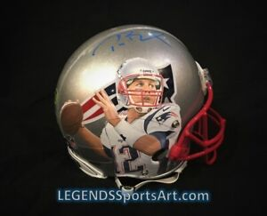 """Tom Brady New England PATRIOTS """"Hand Painted"""" Auto'd GAME ISSUED Style Helmet"""