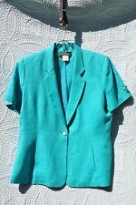 Harve' Benard Turquoise Short Sleeve Lined Linen Jacket 16 (made in Ukraine)