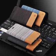 Hybrid Flip Leather Card Holder Case Cover for iPhone Samsung LG Motorola Asus