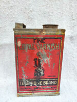 1940s Vintage Imperial Paint & Varnish Telephone Brand Copal Varnish Tin Box Old