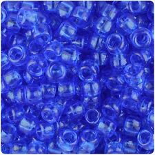 500 Dark Sapphire Blue Transparent 9x6mm Barrel Pony Beads Made in the USA