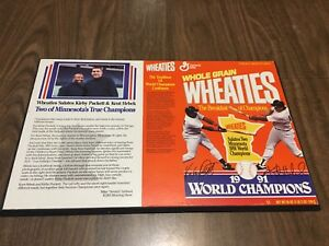 "VTG 1991 Minnesota Twins World Series Champs 12.75x20"" Wheaties Wall Art Plaque"
