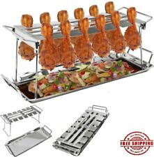 12 Slot Chicken Poultry Turkey Leg Wing Cooker Holder Grill Oven BBQ Rack Smoker