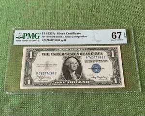 ⭐️TOP POP⭐️ 1935A $1 Silver Certificate PB PMG Superb Gem Uncirculated 67EPQ C2C