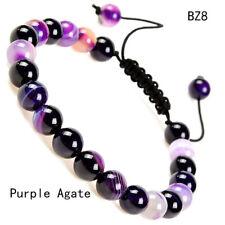 Unisex Adjustable Macrame Hand Braided Purple Agate Stone Healing Beads Bracelet