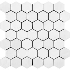 Bianco Thassos Honed Hexagon, Natural Stone, Decor Marble Mosaic, SAMPLE