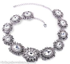 SILVER FLOWER CLEAR WHITE CRYSTAL RHINESTONE Choker Pendant Statement Necklace