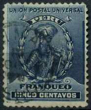 Peru 1896-1900 SG#339, 5c Prussian Blue, Pizarro Used #E1268