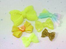 Bow Resin FlatBack x6 Cabochon Decoden Kawaii Mix Craft Embellishment Bow