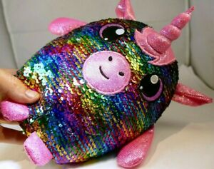 Shimmeez Reversible Sequin Plush Pet Flippy Unicorn Multi-Color rainbow  8""