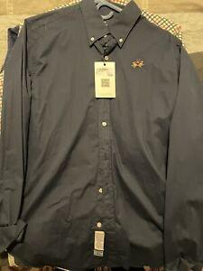 La Martina Navy Slim Fit Large Men Shirt