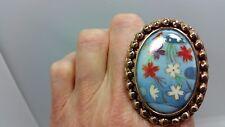 Designer Amy Russell Porcelain Flower Design Large Bronze Ring Size 7