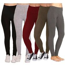 New Ladies Leggings Ribbed Cable Thick Chunky Knitted Warm Plain Full Legging 22