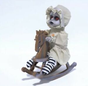 Animated Rocking Horse Spooky Doll Halloween Decoration Lights & Sounds 👻