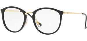 Ray-Ban Women's Black/Gold Tone Round Eyeglasses Frames RX7140 2000 51