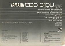 Yamaha CDC-610U Original CD Player Owners Manual
