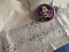 Elegante Lenzuolo puro lino con ricamo Intaglio e Punto Pieno a mano sheet linen
