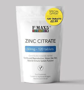 Zinc Citrate 50mg X 120 Tablets sexual health, acne, immune, skin, hair & vision