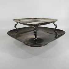 CSC Crown Silver Company Silverplate Rotating 2-Tier Lazy Susan Serving Tray