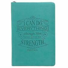 Teal Lux-Leather Journal with Zipper I Can Do (2014, Hardcover)