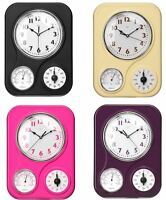 Kitchen Rectangular Wall Clock With Timer & Temperature Display Plastic