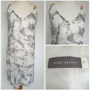 Mint Velvet Size 10 Top Leaf Print Long Sheer Cover Up White Grey Sleeveless