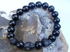 Elasticated BLACK GLASS TURQUOISE SKULL  Men's 10mm beads gemstone bracelet