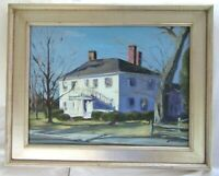 "BIG 30"" OIL PAINTING ANTIQUE COUNTRY HOUSE PRIMITIVE SIGNED FRAMED MA COLONIAL"