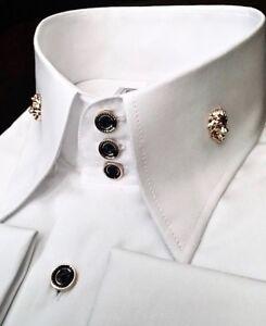 MorCouture White Black Lion Head High Collar Shirt