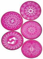 Rangoli Round Stencil 4 Inch To Make Beautiful Rangoli Set Of Assorted 5 Design