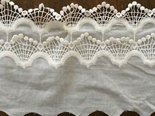 Off White Embroidered Cotton Lace Trim - 15 cm Wide/ 1 yard