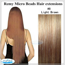 """26""""India Remy Micro Beads Hair extensions 100Pcs #8 Light Brown DOUBLE DRAWN"""