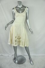 ZAC POSEN Cream Fit & Flare Pleated-Skirt EMBROIDERED LACE APPLIQUE DRESS 4