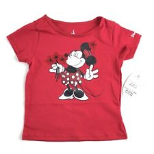 New listing Disney Parks Baby Girls Minnie Mouse Tee Shirt Sz 18 Mo Red Glitter Short Sleeve