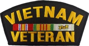 """Vietnam Veteran Official Military Fully Embroidered Iron On Patch 6"""""""