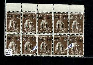 PORTUGAL-Bloco,lado folha,10 selosCERES Nº452,c/CLICHÉS XXV+XXXVII.MNH.PEÇA RARA
