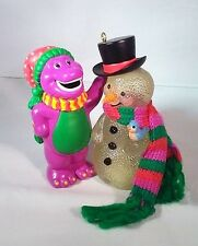 2001 Barney Purple Dinosaur Frosty Friend Carlton Cards Lighted Ornament New Box