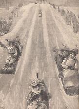 MONTREAL CANADA TOBOGGAN SLIDE SLEDDING ANTIQUE SLED CHILDREN ANTIQUE PRINT 1887
