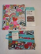Lot X3 Yoobi Spiral Notebook (100 Pages) 24 Pack No. 2 Pencils & Binder Zip Case