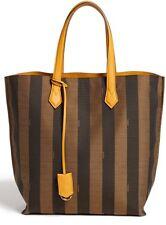 FENDI All In Pequin Striped Shopper Tote Bag Tobacco Yellow Jacquard Logo NWT