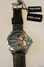 Police reloj pulsera de acero inoxidable pulsera de cuero King Cobra mula Time Zone pl14538js.04a