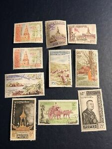 Laos 1959-1961 Stamps, 10 Pcs, 2 Mint And Used